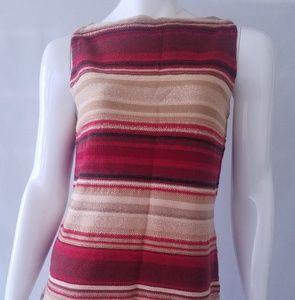 Ralph Lauren Sleeveless Knit Tank Top Striped Red